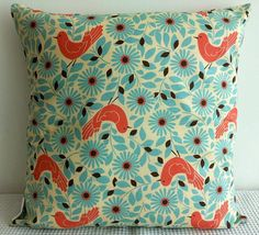 Japanese fabric cushion cover in light blue with par miaandstitch, $30,00