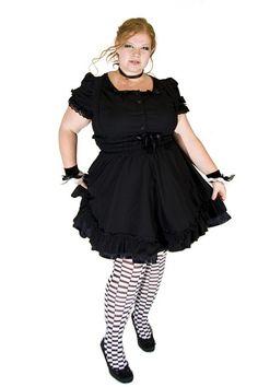 Gothic Lolita Jumper Black Cotton Dress fashion, summer dress, gothic plus size, plus size dresses, jumpers, gothic lolita, black cotton, jumper black, lolita jumper