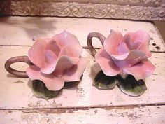 Capodimonte Rose Candle Holders Pink Pair by MyMagicMoon on Etsy, $14.00