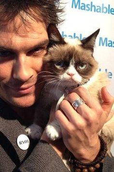 Ian Somerhalder with Grumpy Cat. (luck cat!)