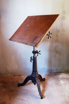 Vintage Industrial Drafting Table with Cast Iron by urbANDustrial, $1000.00