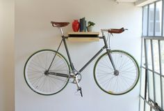 "AWESOME way to store your bike at the office! The Original ""Bike Shelf"" 
