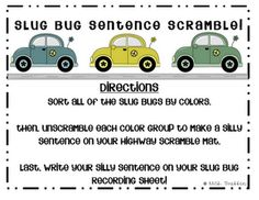 Unscramble the sentence. I could make the cars blank and then put my own words each year after I laminate the cards!