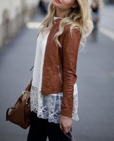 fashion, lace tops, tans, style, color, fall outfits, white lace, leather jackets, black jeans