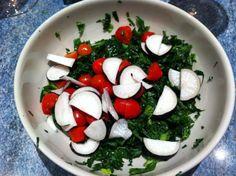 Kale, black radish, cherry tomatoes with lemon juice and olive oil. #AndersonEatsKale
