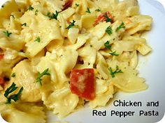 Chicken and red pepper pasta.