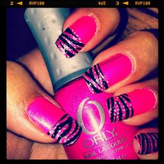 Hot Pink Zebra #SassyPaints2012 pink zebra, rocker, zebranail, hot pink, zebra nails, beauti, barbie, hair, pinkzebra