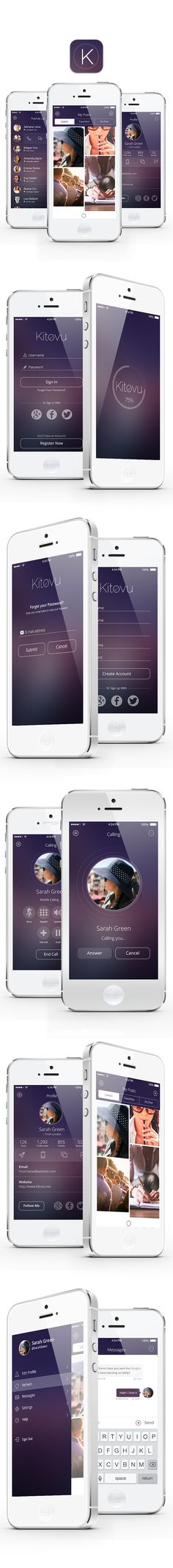 Kitovu IOS 8 UI/UX App Design by Doaa Fadally, via Behance