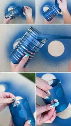 Potes de vidro pintados com tinta spray.