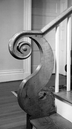 """Stair newel detail: Springfield House, in """"Thomas Day: Master Craftsman and Free Man of Color"""" (working North Carolina and Virginia, mid-19thC.)"""