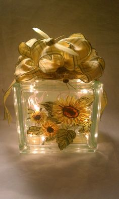 Hand Painted Lighted Glass Block Sunflowers