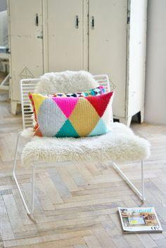 wood & wool harlequin pillow. €125.00, via Etsy.