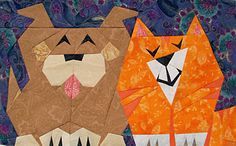 Paper pieced puppy and kitty #Quilt