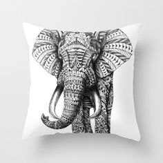 Ornate Elephant Throw Pillow elephants, eleph pillow, throw pillows couch, beauti thing