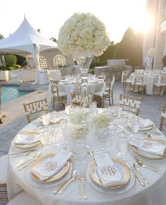 table settings, idea, gold weddings, wedding receptions, white weddings, centerpieces, white gold, gold accents, reception tables