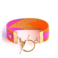 orange, pink and gold cuff