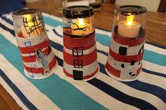 lighthouse light crafts, night lights, fun adult crafts, lighthouse crafts for kids, painting glass with kids, kid crafts, paper cups, tea lights, faro lighthous