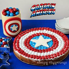 Captain America M&M's Cookie Cake, Edible Candy Jar and more Party Sweets from HungryHappenings.com #HeroesEatMMs #collectivebias #shop