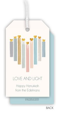 Personalized Hanukkah Heart Candles Hanging Gift Tags