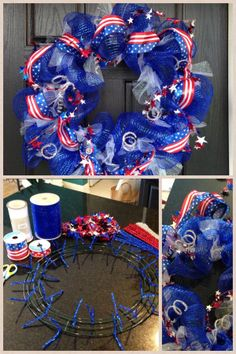 4th of July DIY wreath. Michaels: blue deco mesh, wire frame, glitter pipe cleaner, white glitter tulle, patriotic ribbon. Some items were on sale but with a 40% one item it came to $33