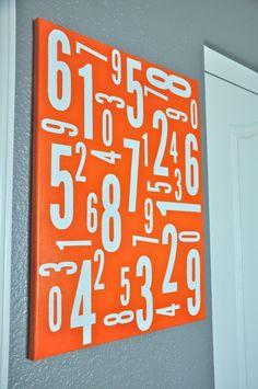 Abstract numbers make great wall art.  #orange #wallart #nursery #numbers