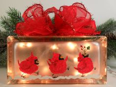 Lighted Glass Block Red Cardinal Hand Painted 7 1/2 x 3 3/4 x 3 3/4. $35.00, via Etsy.