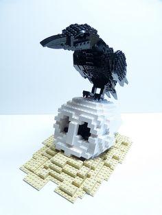 the raven, lego poe, brick, art, legos, edgar poe, legomania, raven nevermor, ravens