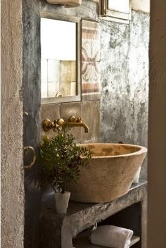 interior design, half baths, stone country homes, bathroom designs, sink