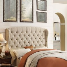 Tufted Headboard With Gracefully Enveloping Wings And A Softly