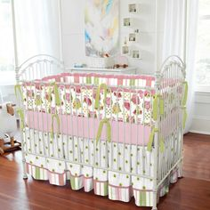 Girly Owl Crib Bedding   Pink and Green Girl's Crib Bedding Set featuring Owls   Carousel Designs..SUPER CUTE