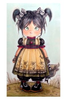 """Gothic little doll by Pilar Agrelo  size 18""""x24"""" pastel and color pencil"""