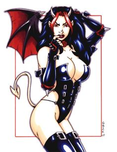 DEVIL GIRL Goth Color Pinup Sketch Art - Garrett Blair Comic Art