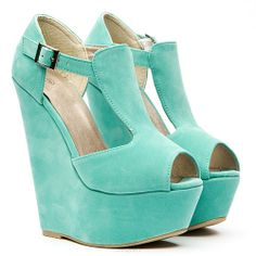 Suede turquoise wedges!