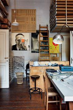 arch. Achille Castiglioni . work space.