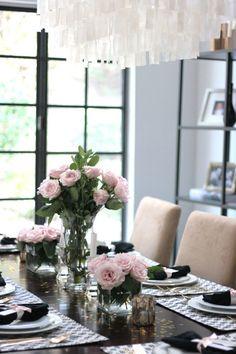 small shop Erika Brechtel vday dinner party table setting black white Stone Textile pink roses capiz pendant gold confetti