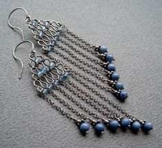 Wire, chain and bead earrings. I really like the color and wirework of these.  #DIY earrings