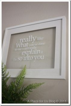 Lyrics to your wedding song on glass with vinyl for a gallery wall!