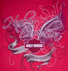 Women's Harley Davidson Tattoo T-Shirt Deep Pink Grand Canyon