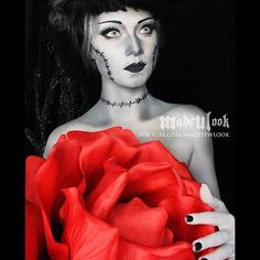 THIS IS NOT AN EDITED BLACK AND WHITE/COLOR PHOTO! I am PAINTED in grey scale, and holding a giant red rose! This #madeulookhalloween tutorial is now up on @youtube.com/MadeYewLook  This look is SO COOL if you include holding something vibrant with your black and white costume! It's awesome looking in a colorful world! #sofun