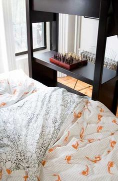 fish and pebbles bedding. so cute and clean.