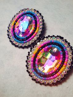 Native American Beaded Earrings: oval set (black) on Etsy, $30.00