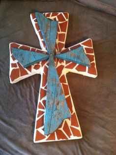 """Red mosaic tile cross with wooden turquoise overlay. 18"""" x 12"""", wall hung"""