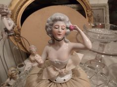 """Vintage Porcelain French Style Half Doll Pin Cushion 6"""""""