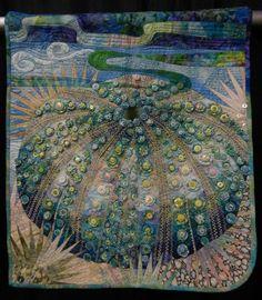 urchin quilt, button, art quilt, sea urchins, challeng quilt, textile art, hoffman challeng