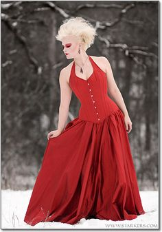 Love this Red Corset Gown!! Custom wedding corsets to  blow your mind from~ Starkers! Corsetry