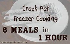 Crock Pot Freezer Cooking Tutorial: 6 Meals in 1 Hour - Stacy Makes Cents freezer meals, cook tutori, crock pots, crockpot, crock pot dinners, crock pot chicken, freezer cooking, chicken meals, pot freezer