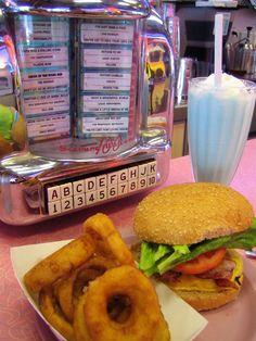 Retro Diner 1950s style, food, 50's retro diners, 50's diner jukebox