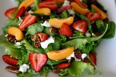 Goat cheese, strawberry, pecan and apricot salad