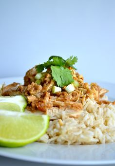 Skinny Crock Pot Thai Peanut Chicken. nutty, fresh, savory flavor.