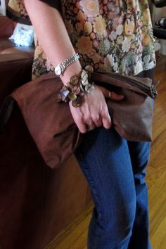 Leather jacket turned into a leather clutch.